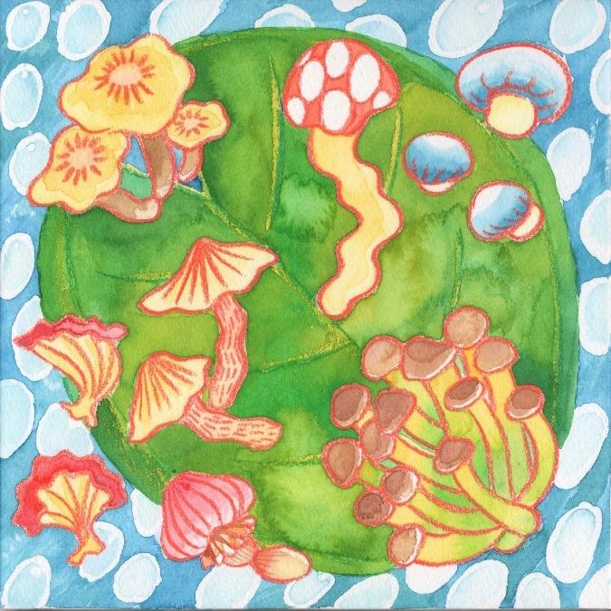 mushroom flowing in the river
